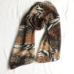 Chico's Mixed Animal Print Semi Sheer Scarf